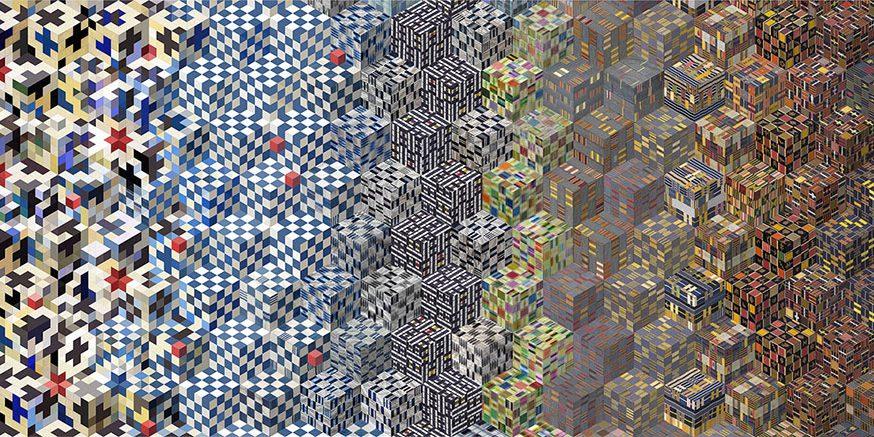Montage numérique, impression sur aluminium. 500 x 25000 cm Inspiré par la génomique. Projections sur des cubes axonométriques, échantillonnages de tissus et motifs guanéens, japonnais et mauresques (et autres …)