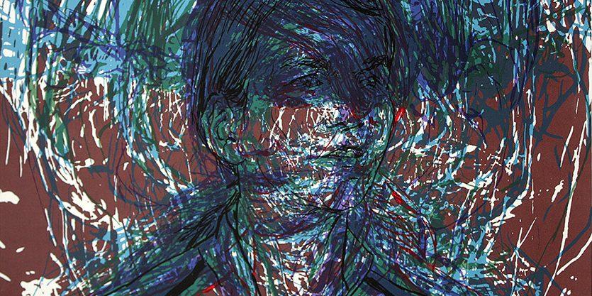 Tête qui parle, 2012. sérigraphie sur papier. 102 x 20 cm