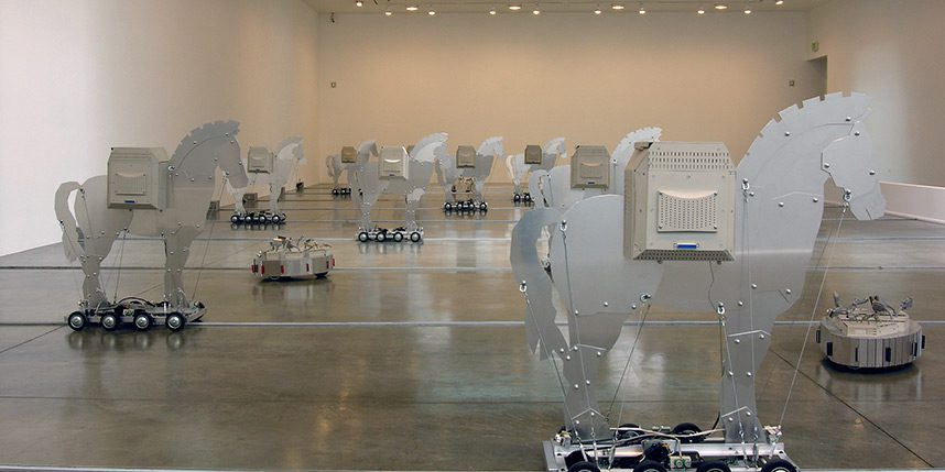 2004-06 : Infrasense, Ben Maltz Gallery, Los Angeles, États-Unis, 2006 Aluminium, plastique, composantes électroniques et mécanismes