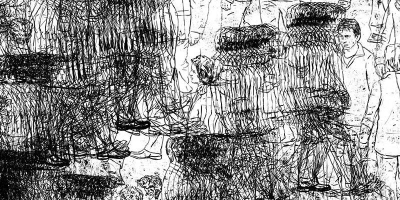 Prologue, extrait (2:38:11) du spectacle Pour un oui ou pour un non, 2013. Texte de Nathalie Sarraute. Production du Théâtre Galiléo. Mise en scène de Christiane Pasquier. Avec Marc Béland, Vincent Magnat. Images animées : Thomas Corriveau. Musique : Jean Derome